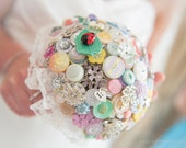 A Summers Day Vintage Brooch, Jewellery and Button Wedding Bouquet in Pastels