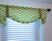 CHARTREUSE CHEVRON Tie Up Curtain Valance Zig Zag Window Treatments Handmade in the USA