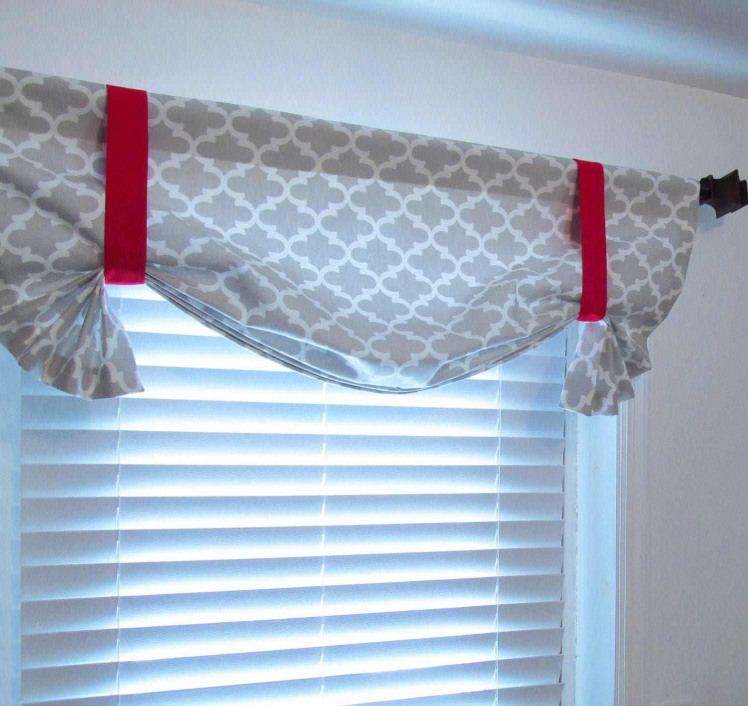 Tie Up Valance French Gray Red Quatrefoil Lined Curtain
