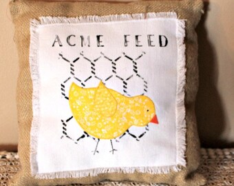 Burlap Pillow with Chick