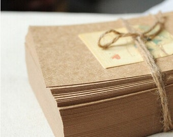 100 pcs blank note cards Kraft card chipboard Postcards Kraft invitaiton/post card