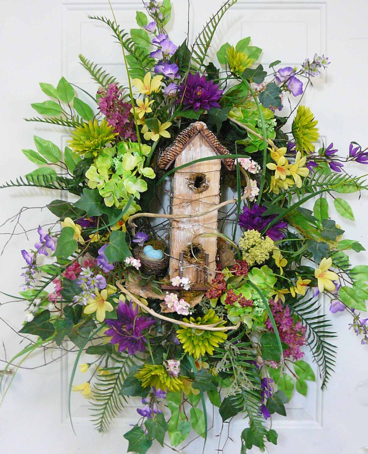X large colorful spring and summer outdoor by ladybugwreaths for Colorful summer wreaths