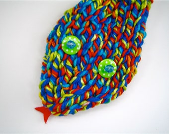 Snake scarf - kid's scarf -  unisex scarf - funny scarf - silly scarf - fun gift