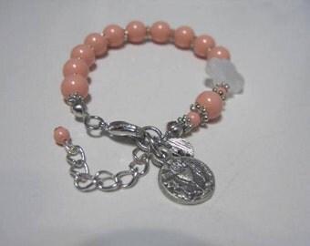 Child Pearl rosary bracelet, Single Pearl strand, Initial charm Bracelet, Flower girl Bracelet, Baptism gift,