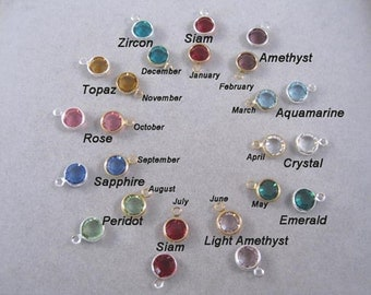 6mm, ADD ON Birth Month Crystal Channel Charms, personalize your jewelry, Swarovski Crystal charms