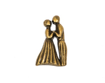 "4 Bronze Dancing Wedding Couple, man and woman, cabochon embellishments, 1"" tall, chb0324"