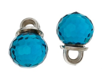 5 Crystal Dot Charm Drops, Caribbean CAPRI BLUE, 10mm, Silver Tone Metal Bail chs1762