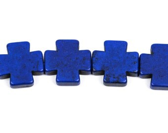 20mm Dark Blue Howlite MALTESE Cross Beads, full strand, 19 beads  how0369