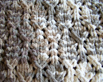 New Bulky Chenille Afghan in Browns/Taupes