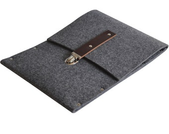 Bag for MacBook 12 inch. Sleeve, Case, Briefcase grey synthetic felt and real leather strap
