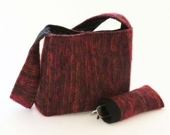 FELTED SPANISH RED Wool-Mohair Shoulder Bag / Purse / With Black Lining & Pockets (Ooak) from Upcycled Mohair Skirt / Eco Friendly Gift