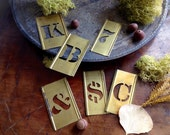 Old Industrial Style Brass Letter and Number Stencils