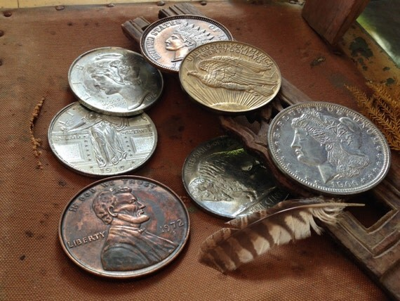 Vintage giant american coins metal coasters by for Penny coasters
