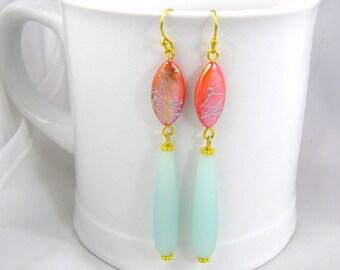 Seaglass earrings extra long earrings blue and orange earrings hippie bohemian colorful fun dangle earrings