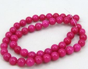 mountain jade fuschia 8 mm round beads 15.5 inch strand jewelry making supplies