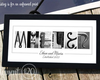 Personalized Wedding, Anniversary or Bridal Shower Gift, Alphabet Photo Letter Art - 10x20 Unframed Name Print, Personalized Art Gift