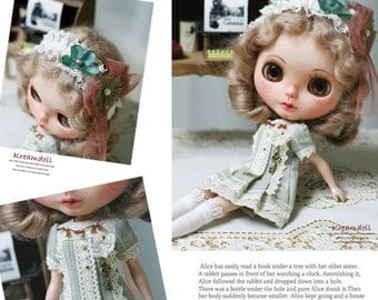 Page Green Dress SET - for Blythe - doll outfit