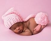 Newborn Elf Hat, Crochet Baby Hat, Newborn Photo Prop, Newborn Stocking Cap, Infant Pom Pom Hat, Pink Baby Hat, Long Tail Hat, Soft Baby Hat
