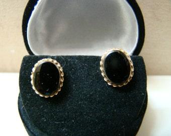 14K Yellow Gold ONYX Earrings