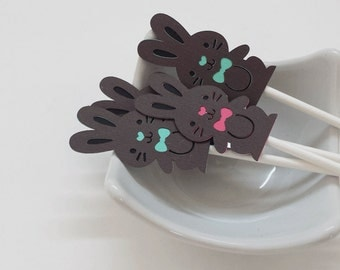 Chocolate Easter Bunny Cupcake Toppers Qty 12