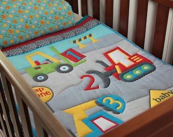 Quilt Baby Boys Construction Area & Pillow Case