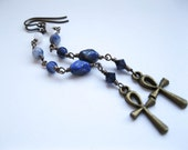 Long blue and white chain earrings with ankh talismans.  Ankhs of Nephthys