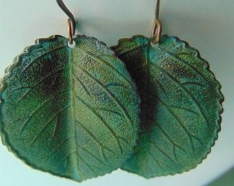 Verdigris Rose Leaf Earrings
