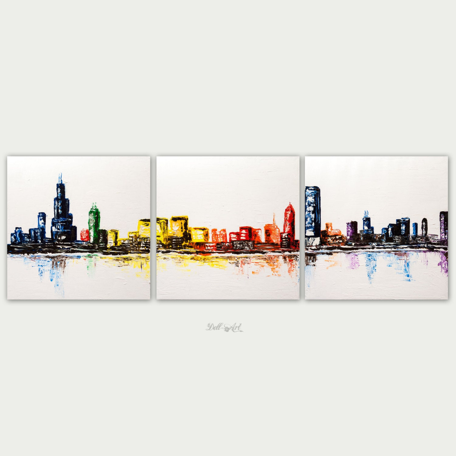 Chicago Painting Etsy - Chicago map artwork