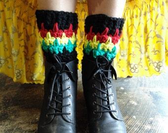 Crochet PATTERN - Marley Boot Cuffs - Black, True Red, Sunshine yellow, Jade Green