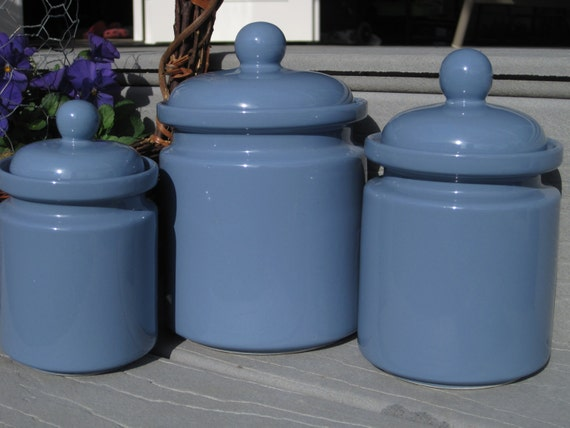 Periwinkle blue canister set 3 piece canister set kitchen for Blue kitchen set