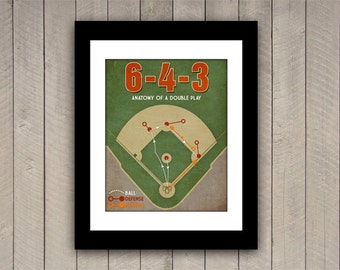 "Baseball Print ""6-4-3 Double Play"" Infographic Baseball Poster in textured Greens, Red, Tan"