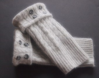 Fingerless Gloves Angora Merino Wool Gray