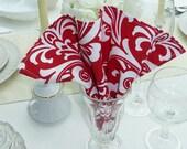Dinner Napkins - Set of 4 - Damask Red Fabric Dinner Napkins