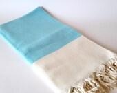 Elegant Organic Turkish Towel, Peshtemal, bath, spa, hammam, Natural Soft cotton, Blue, Gift for mother, Special Production, Handwoven