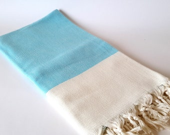 Elegant Organic Turkish Towel, Peshtemal, bath, spa, hammam, Natural cotton, Aqua blue, Gift , Handwoven , valentine's day