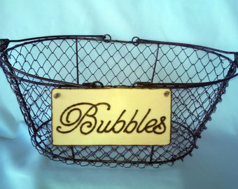 "Small Rustic Wedding ""Bubbles"" Sign- WITH WIRE BASKET for Your Rustic, Country, Wedding, Birthdays, anniversaries, graduation."