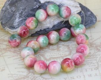 "11"" 21Beads  14mm Round Pink Yellow Green Jade  Mixcolor Jade  Beads Gemstone Beads"