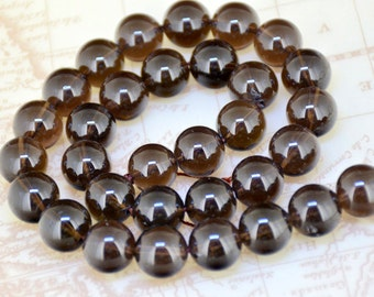 """Smoky Quartz Strand Round 12mm Tea Quartz beads,Loose Natural Smoky Crystal Full One Strand 15.5"""""""