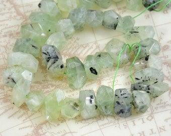 "Faceted Green Prehnite Quartz 20mmx10mm ,Natural Prehnite strand Loose Round Gemstone Beads Full One Strand 16"" , Charm Quartz Strand"