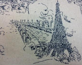 Sketch of Paris, in dark blue, fat quarter, pure cotton fabric