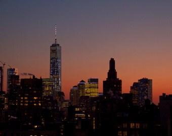 Lower Manhattan at Twilight Landscape Photograph New York City Sunset Color Fine Art Photography Freedom Tower World Trade Center Wall Art