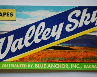Vintage Crate Art - Valley Sky - California Table Grapes  - Shipping label - 1960's - California Ranch