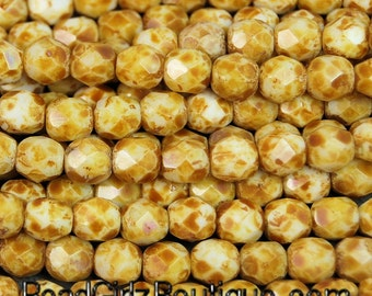 Opaque White Picasso Firepolish Czech Glass Faceted Bead 6mm Round - 25 Pc