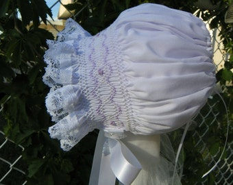 SALE - 12 Months - Bonnet with Lilac rosebuds