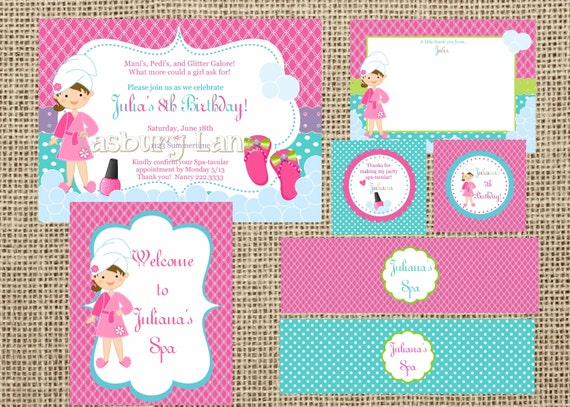 Printable InvitationNEW Spa Party Girls CollectionLittle Birdie – Little Girl Spa Party Invitations