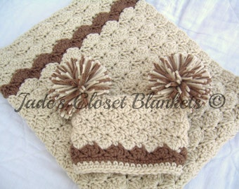 Baby Gift Set, Crochet Baby Crib Blanket and Hat Gift Set, Vanilla Latte with Chocolate accents