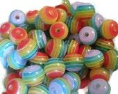 50 Multicolour Stripe Resin Round Bead