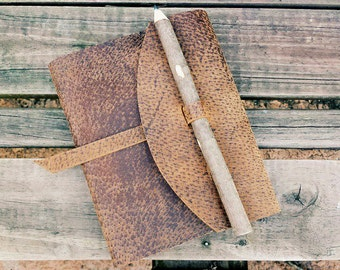 Pigskin Journal Cover with Twig Pencil : Made to Order