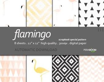 Flamingo Digital paper, Scrapbook paper, Digital background, Printable paper, Pink and black, Pink scrapbook, Watercolor scrapbook, Pastel