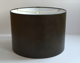 Brown Faux Leather Drum Lamp Shade Lampshade